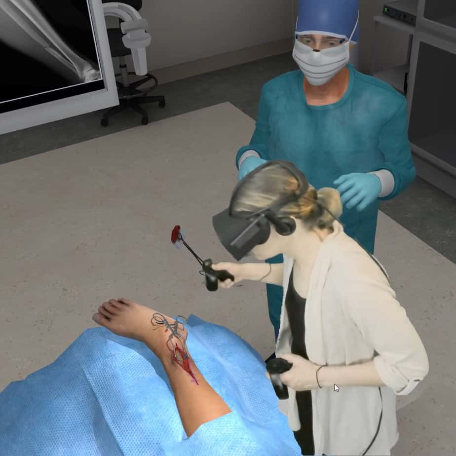 Student in a virtual reality operating room performing a procedure