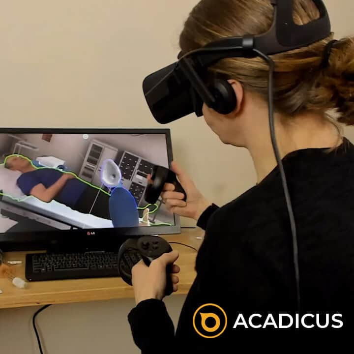VR medical training with students in classroom interacting with medical equipment