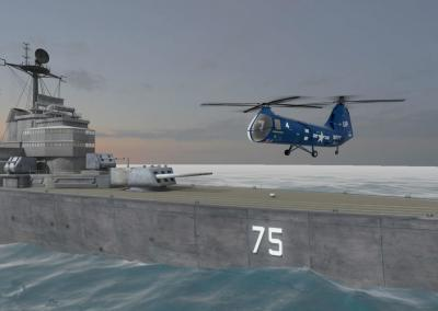 Historical recreation of U.S.S. Helena in virtual reality with helicopter