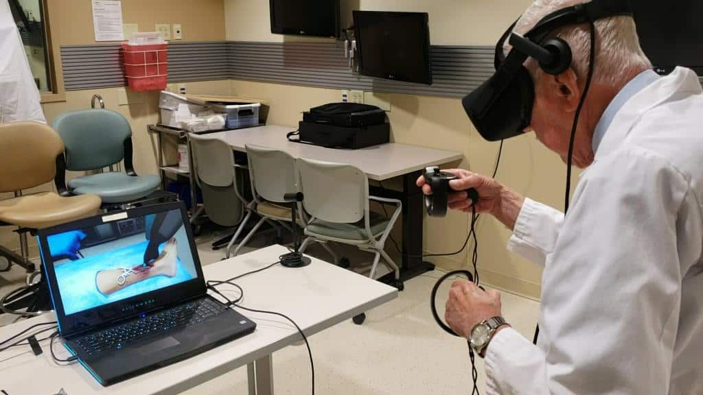 Virtual reality medical and healthcare training simulation with Oculus Rift