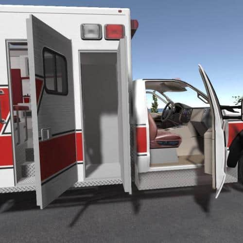 Ambulance VR training scene for paramedics and emt in virtual reality Oculus Rift scenario