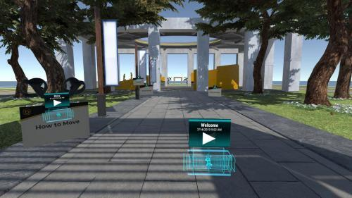 Outdoor virtual world entrance to classrooms with play button to begin tutorial