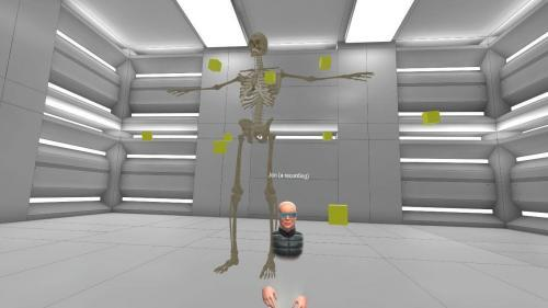 Huge skeleton in a virtual reality classroom with teleport points so student can get a closer look