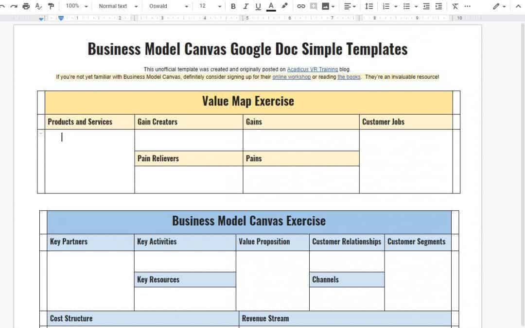 Business Model Canvas and Value Map: Google Doc Templates