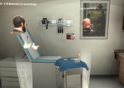 Placing sharps container in VR simulation for nursing