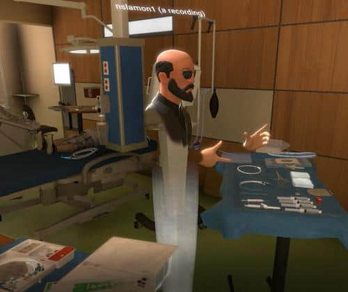 3D avatar of Dr. Nick Slamon performing Central Line medical training in virtual reality