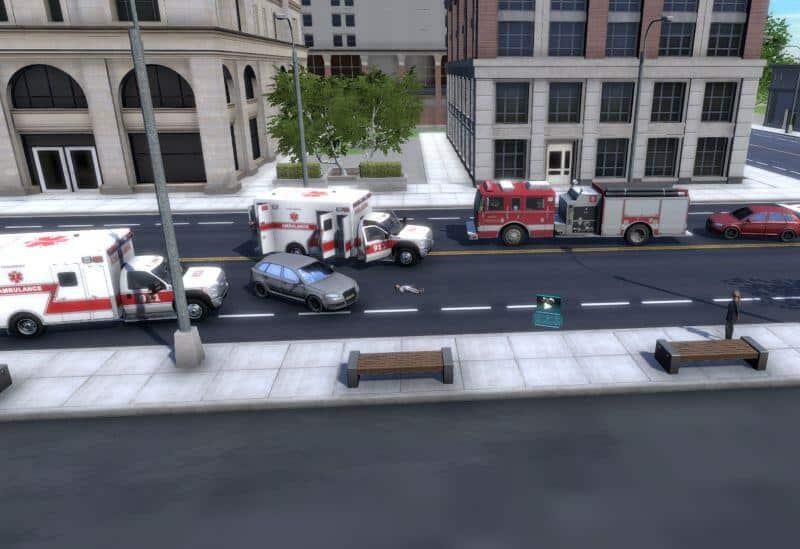 emergency response scene for training in VR